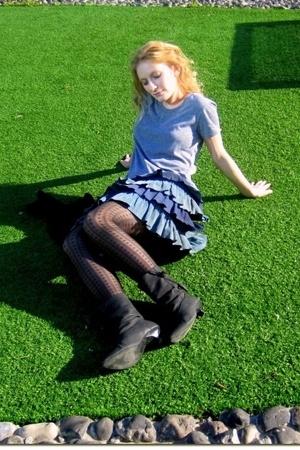 American Apparel t-shirt - old skirt - Cala - Israeli brand boots - random brand