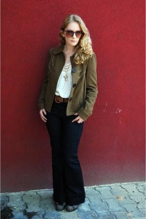 Zara jacket - vintage blouse - Mango jeans - random brand belt - Gazith shoes -
