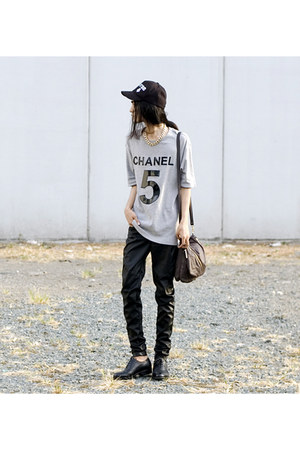 heather gray custom made shirt - mark r shoes - sm accessories hat - Kipling bag