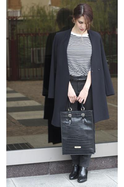 black Zara coat - black Zara boots - black Blugirl Blumarine bag