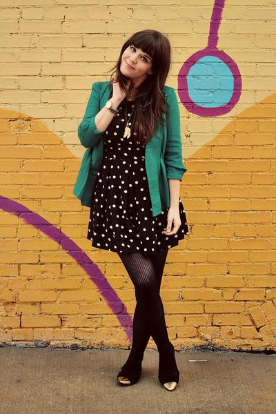 turquoise blue Mark blazer - black Dorothy Perkins dress - black HUE tights