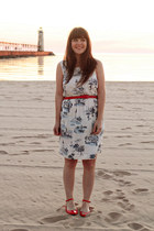 red Forever 21 belt - white modcloth dress - red modcloth flats