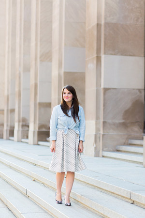 black JCPenney heels - white modcloth dress - blue Old Navy top