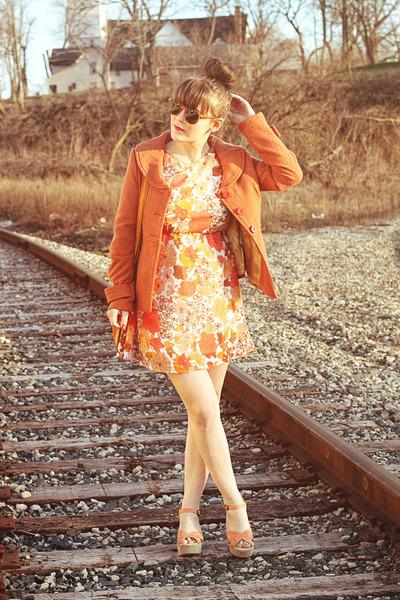 carrot orange Tulle dress - carrot orange Tulle jacket
