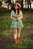tawny wolverine 1000 mile boots - aquamarine Urban Outfitters dress
