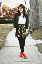 black modcloth tights - tawny Wolverine boots - army green modcloth skirt