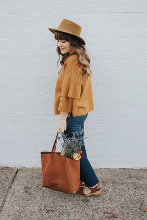 blue madewell jeans - dark khaki Urban Outfitters hat - mustard madewell sweater