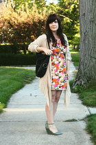 black Twice bag - ivory modcloth dress - green Seychelles wedges