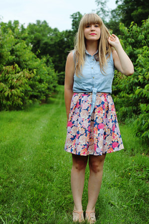 pink modcloth dress - sky blue Meijer top - light pink BC footwear wedges