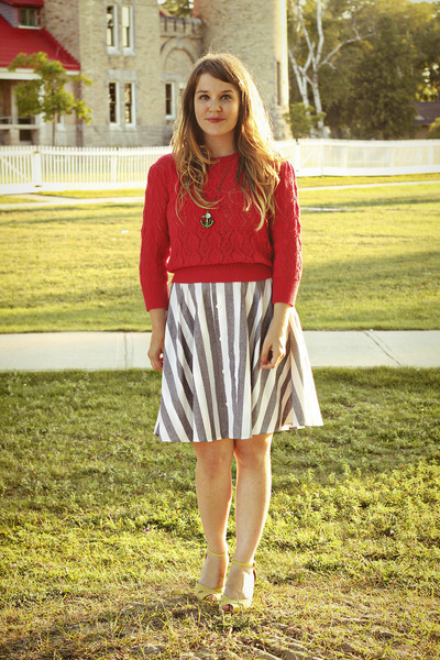 blue modcloth skirt - red Lace Affair sweater - light yellow modcloth wedges