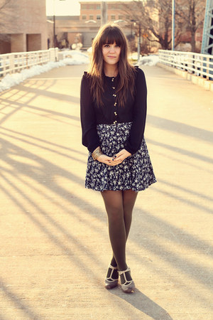 navy thrifted skirt - olive green American Apparel tights - navy Lalamagic top