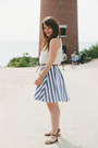 Blue-modcloth-skirt-white-top-tawny-urban-outfitters-belt