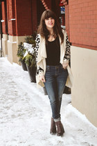 ivory Forever 21 cardigan - brown shoemint boots - blue Forever 21 jeans