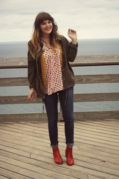 orange modcloth top - burnt orange samantha pleet wolverine 1000 mile boots