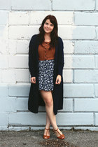 navy Ruche cardigan - tawny Urban Outfitters heels - navy thrifted skirt
