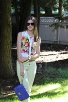 white Club Monaco blouse - lime green American Eagle jeans - violet Fossil bag