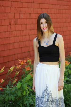 lulus skirt - JewelMint necklace - brandy melville top - Joe Fresh sandals