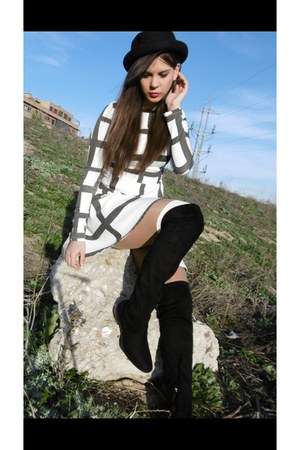 black Zara boots - white wish dress - black Primark hat