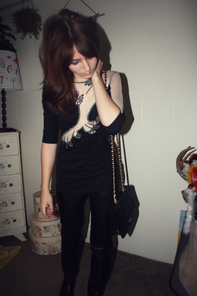 black Kate Moss for Topshop dress - black Goodwill purse - black Steve Madden sh