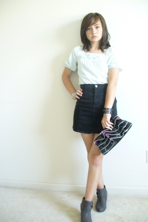 black pencil skirt skirt - gray boots - blue shirt - black accessories