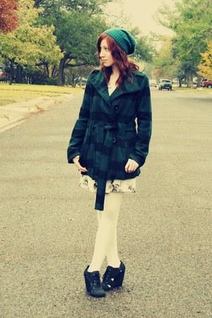 Forever 21 coat - Forever 21 dress - hat - tights - wedges
