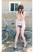 light brown Old Navy shorts - Giorgio Armani sunglasses - dark brown wedges - ne