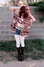 Ankle-boots-tribal-shirt-shorts-forever-21-cape