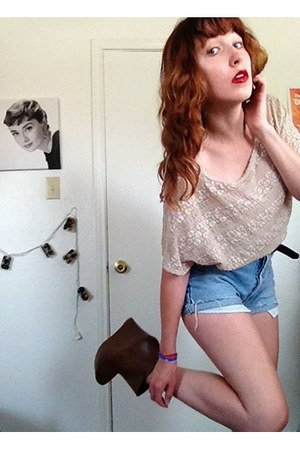 thrifted boots - high-waisted thrifted shorts