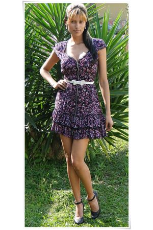 purple Forever21 dress - white Marisa belt - black Arezzo shoes