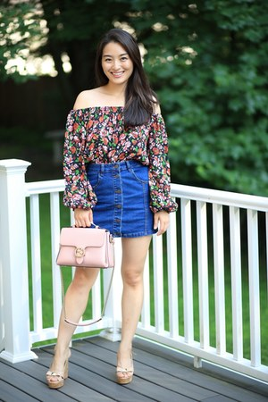 navy button up Almost Famous skirt - maroon Zara top