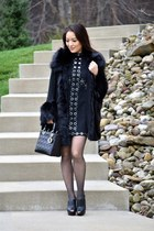 black Aldo shoes - black asos dress - black christian dior bag - black asos cape