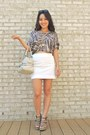 White-mini-bcbgmaxazria-skirt-beige-gucci-bag-black-cole-haan-sunglasses