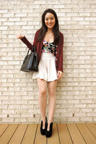 brick red cashmere District cardigan - black cut out ankle deb boots