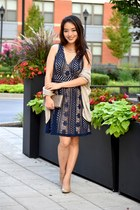 navy lace skater modcloth dress - beige cocoon Wet Seal cardigan