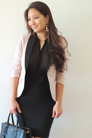 light pink tuxedo H&M blazer - black polka dot tank Design History top