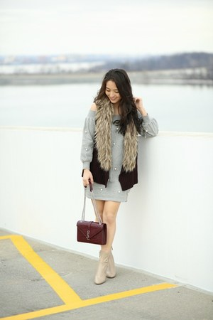 heather gray asos dress - maroon faux fur Off Saks vest
