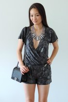 silver Grayson romper - black Chanel bag - heather gray Sparkles & Pop necklace