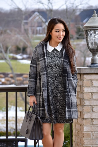 gray collared a-line Betsey Johnson dress - heather gray OASAP coat