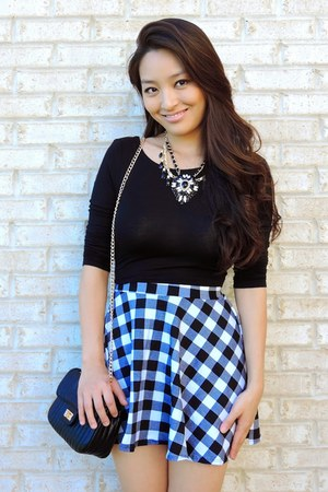 black deb skirt - black crossbody deb bag - black crop deb top