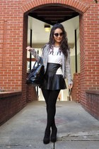 white TrendyBlendy skirt - black cut out deb boots