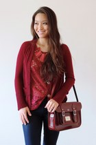 maroon Leather Satchel Co bag - navy waxy Articles of Society jeans