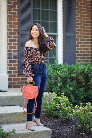 navy StitchFix jeans - orange satchel Violet Ray bag