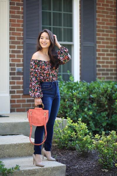 navy StitchFix jeans - orange satchel Violet Ray bag