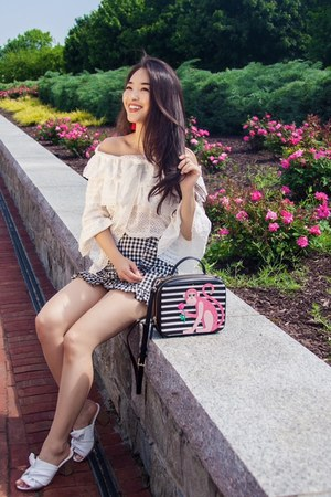 white Chicwish top - black gingham skort Chicwish skirt