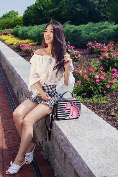 white Chicwish top - black gingham skort Chicwish skirt