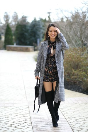 black checkered asos coat - black stuart weitzman boots