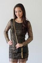gold YSL bag - black StyleMoi dress