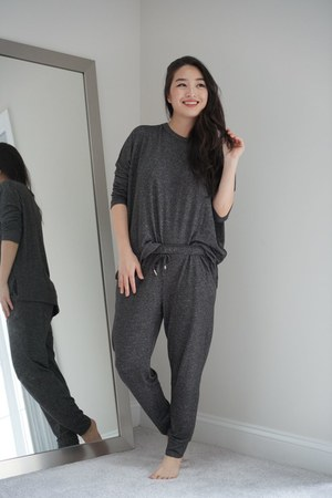 charcoal gray pullover Sunday Citizen top