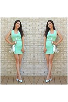aquamarine bandage Kuriel dress - white LucyMint bag