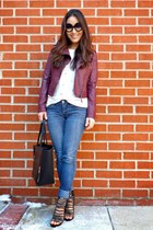 black tote Chicwish bag - blue bootcut Bongo jeans - maroon Aeropostale jacket